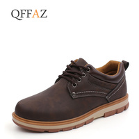 QFFAZ Brand Men's Shoes High Quality Casual Leather Brown Sneakers Mens Shoes Fashion Waterproof Work Safety Shoes