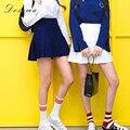 Falda plisada ocasional 2017 del estilo preppy de corea delgado de cintura alta falda blanca plisada mini salvaje sweet girls pantalones cortos de cintura alta falda