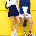 Saia plissada ocasional 2017 estilo preppy coreano magro cintura alta saia plissada branco mini selvagem sweet girls shorts de cintura alta saia