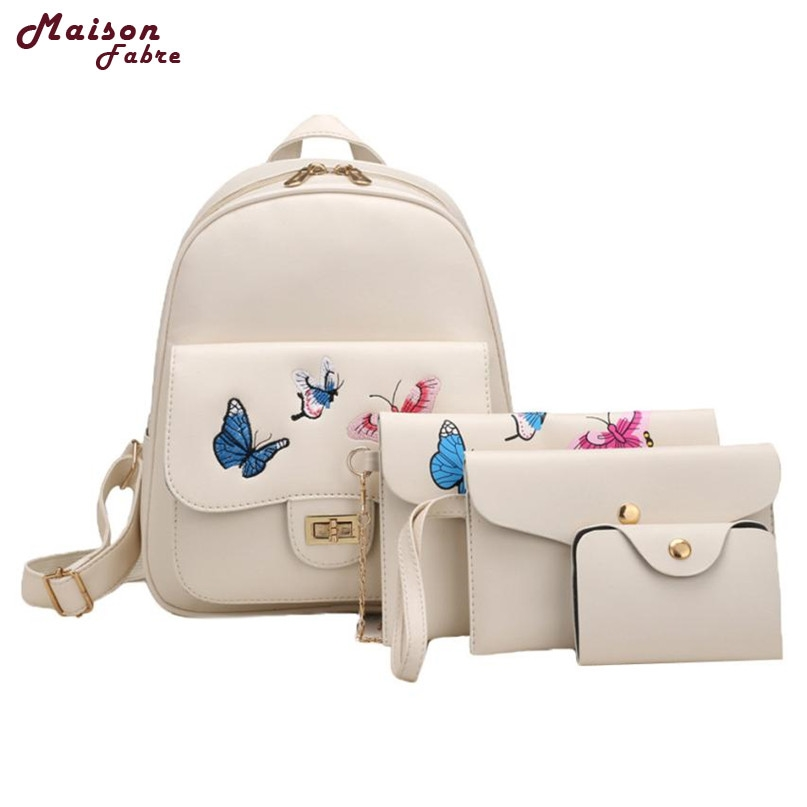 148aaa2e40a4 Maison Fabre Fashion Backpack New 4 Sets Women Girl Butterfly Embroidery  School Bag Shoulder 2017 Hot