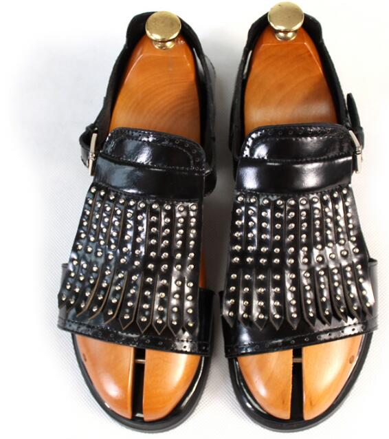 c3f23d26806666 Handmade Black Men Sandals Rome Style Flats Carves Cut out Genuine leather  Open toe Casual Summer Beach Gladiators Rivets Shoes