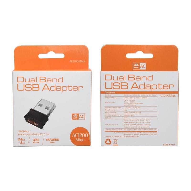 USB Mini 1200Mbps Wifi Adapter Dual Band Network Card 5GHz 2 4Ghz 802 11AC  Wifi Antenna Dongle AC Adapter For Laptop Desktop