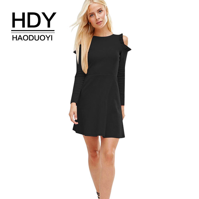 e52631986e9 HDY Haoduoyi Little Black Dress Women Long Sleeve Off the shoulder Sexy  Mini Dresses Empire Casual Party 2018 Spring New Vestido