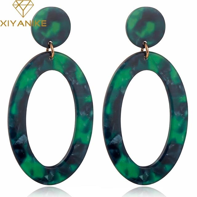 XIYANIKE Korean Style Acetate Leopard Large Earrings Simple Geometric Acrylic Brown Green Earrings Oval Fashion Women E461