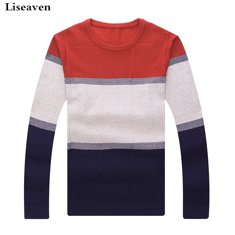 Liseaven Pullover Sweater 2018 Casual Men's Sweater O-Neck Striped Slim Fit Knittwear Men Sweaters Pullovers Pullover Pull Homme