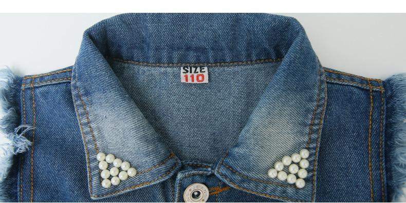 turn-down collar colete com bolsos menina pérolas