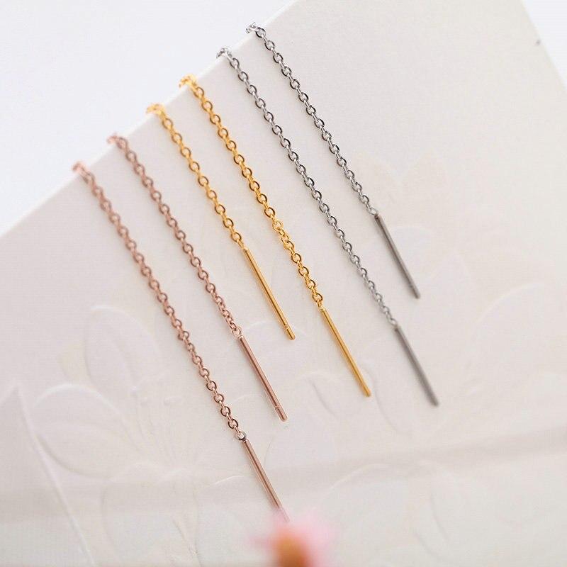 Юнь РУО Анти-аллергия розовое золото серебро цвет простой серьги линия нержавеющая сталь 316 L ювелирные изделия модная женская Сережка-гвоздик подарок