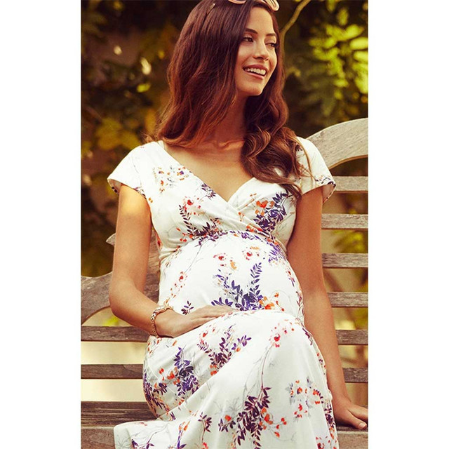 Women Dress Maternity Photography Props Floral Short-Sleeved Dresses for Pregnant Women Maternity Long Dress vetement femme 2019