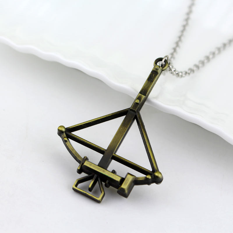 Fashion Design Movie Antique Golden The Walking Dead Necklace Crossbow Bow And Arrow Pendant&Necklace Collar Choker Necklace-10