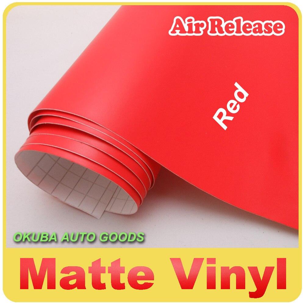 EXCELLENT film d'emballage en vinyle de voiture rouge mat autocollant de voiture avec bulle d'air taille libre: 1.52*30m FedEx livraison gratuite