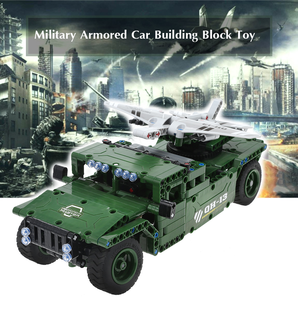 506pcs DIY Building Block Car Remote-Controlled Military Armored Car Building Block Toy Learning Educational Toys Kids Gifts