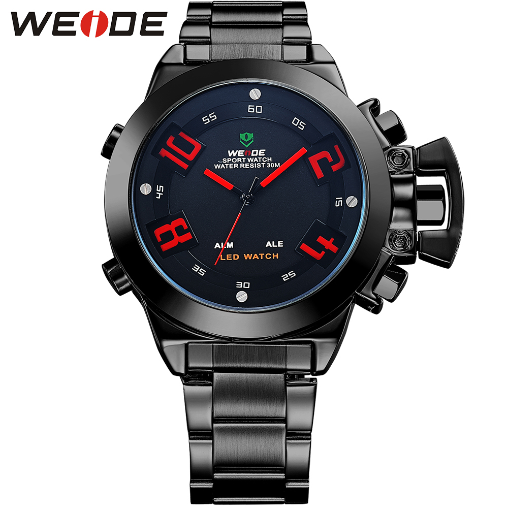 WEIDE Famous Brand Men Sport Military Watch Stainless Steel Analog Quartz Round Case LED Wristwatch With Alarm Waterproof Clock