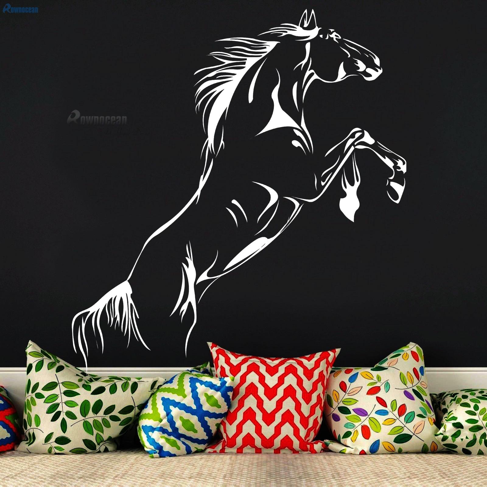 Animali creativi Cavallo da corsa Adesivi murali interni Per camerette Decorazioni per la casa d'arte Soggiorno Vinile Stagna Rimovibile D-13