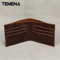 New Fashion Vintage Genuine Leather Wallet For Men Handmade Short Wallet Men Purses Wallets Carteira Masculina