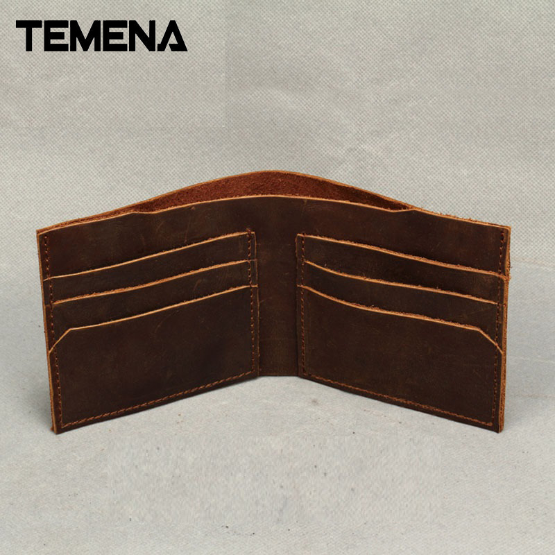 New Fashion Vintage Genuine Leather Wallet For Men Handmade Short Wallet Men Purses Wallets Carteira Masculina AWL008C