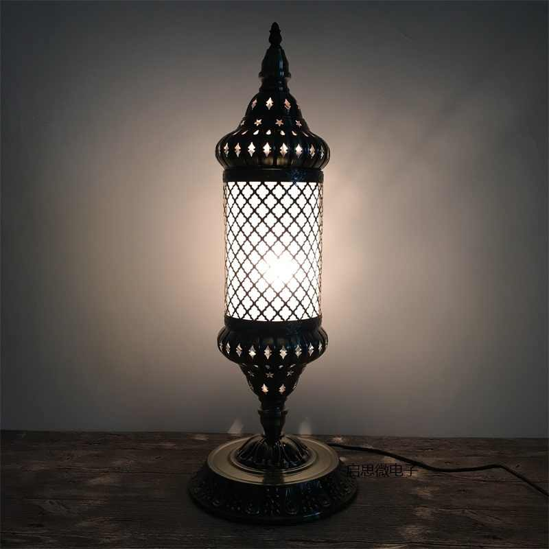 Newest E14 Hand-inlaid ice cracked glass bedroom living room decorative  Table Lamps of Mediterranean style Turkish Lamps