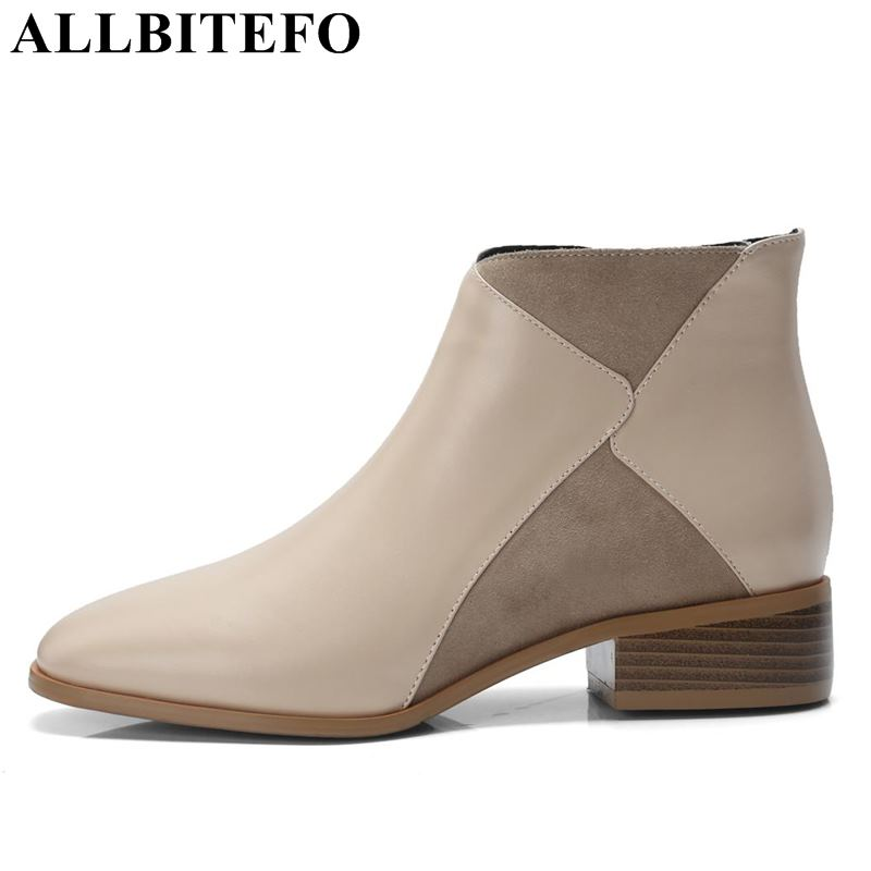 ALLBITEFO genuine leather square toe mixed colors women boots fashion brand high heels ankle boots women winter snow girls boots стоимость