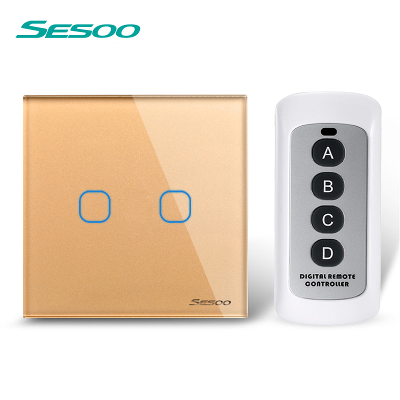 EU/UK/US Standard SESOO Remote Control Switch 2 Gang 1 Way,Crystal Glass Panel,Wall Touch Switch+LED Indicator F18553 funry eu uk standard 1 gang 1 way led light wall switch crystal glass panel touch switch wireless remote control light switches