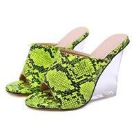 Female Slippers Woman Sandals 2019 Summer Transparent Platform Wedge Sandals 11cm High Heels Slippers Green Sandals Women Wedges