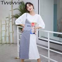 TVVOVVIN Casual Lace Patchwork Women Dress O Neck Half Sleeve Cartoon Plaid T Shirt Dresses Female Fashion Summer 2019 New AS935