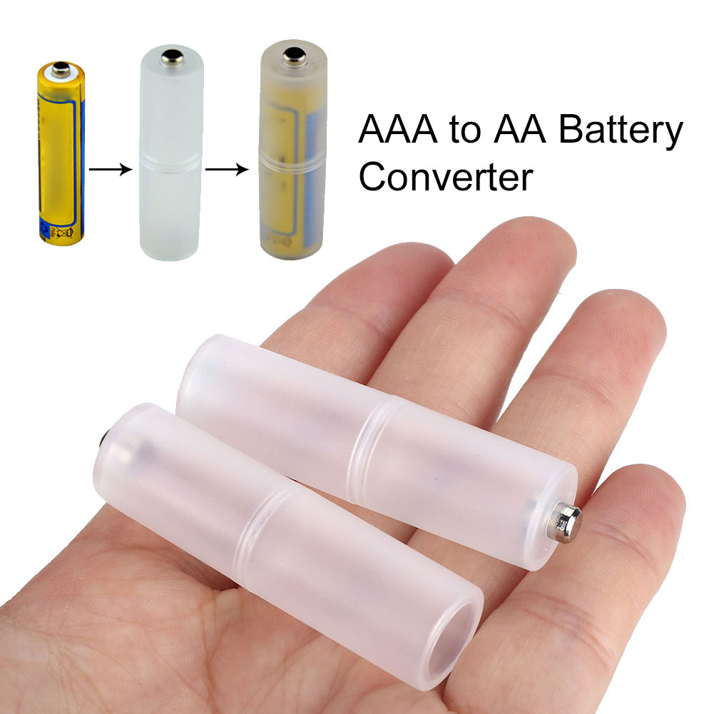 2pcs AAA To AA Size Household Battery Converter Home Mini Battery Adapter Trip Large Strength Bettery Holders