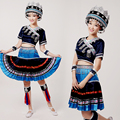 NEW Girls Chinese Minority Folk Clothing Miao Zhuang and Yao Dong Tujia Dance Costume Yao Women Suit