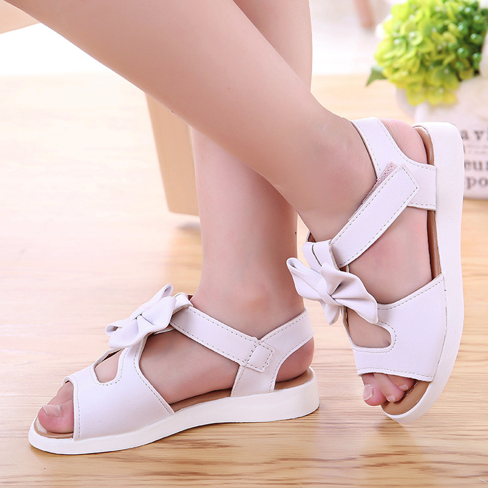 Summer Kids Children Sandals Fashion Bowknot Girls Flat Pricness Shoes