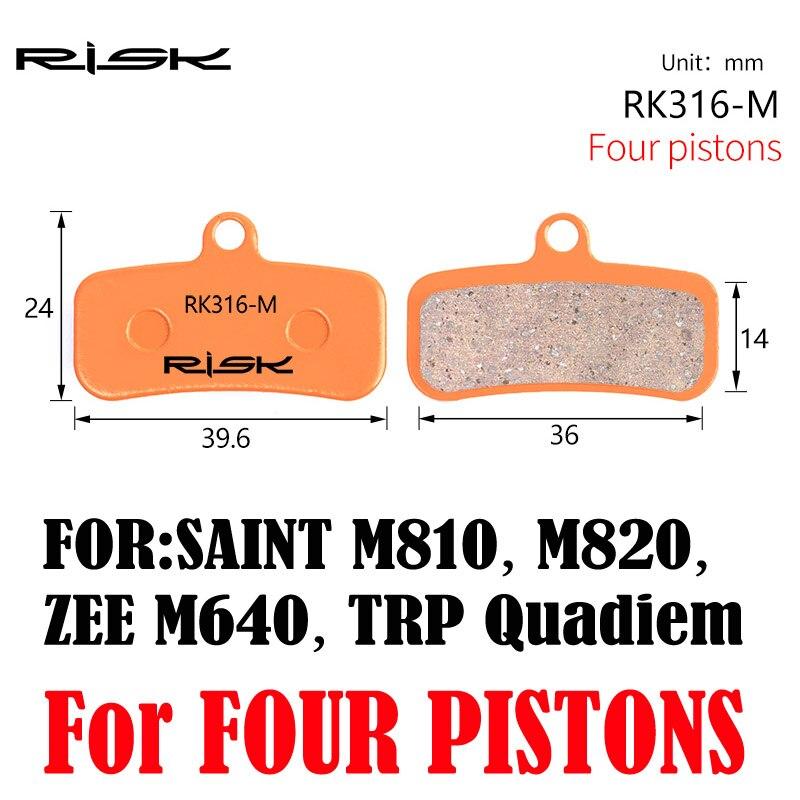 Full-metal Bicycle Disc Brake Pads For Saint M810 / M820 / Zee M640 / Trp Quadiem Disc Brake Set Pads 1 Pair