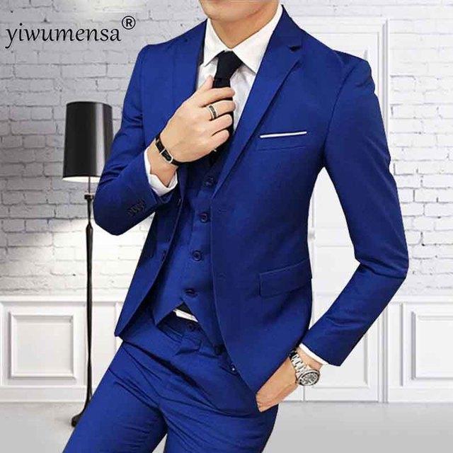 Ywms 55 Luxury Men Business Suits Royal Blue Suit Man 2018 Custom Made Wedding