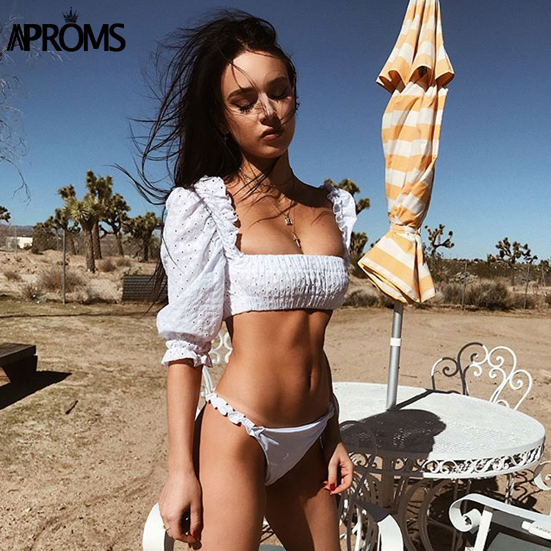 Aproms White Off Shoulder Ruffles Crop Top Women Puff Sleeve Vintage Cotton Tank Tops Embroidery Beach Summer Female Tees 2018 by Aproms