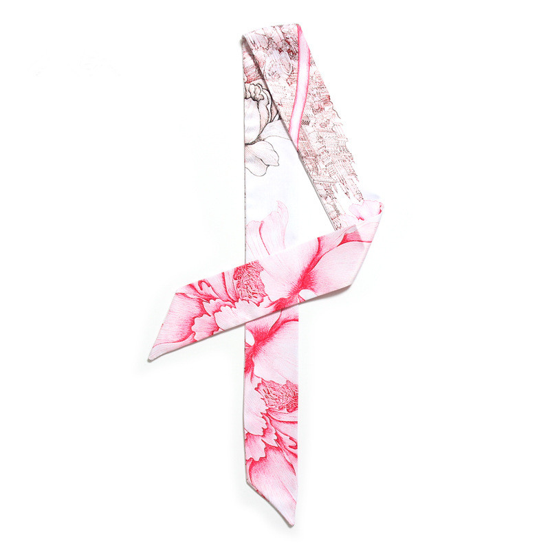 Fashion Peony Flower Print Skinny   Scarf   New Silk Bag Handle   Scarf   For Women Female Neckerchief Head   Scarves   &   Wraps