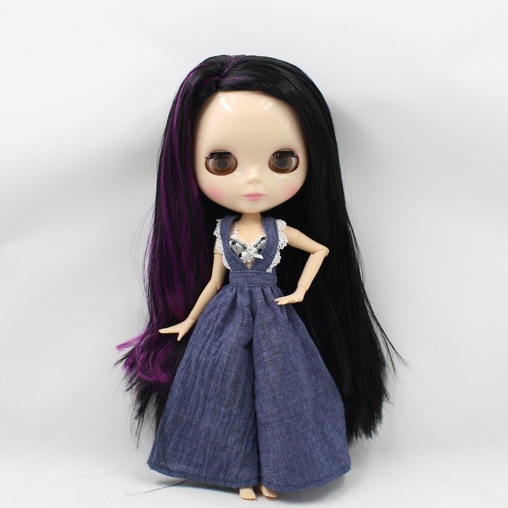 Nude Blyth doll Purple mix Black long hair fashion blyth bjd doll with joint body doll model toys 12 blyth nude doll k 180 black hair bjd blyth doll for sale
