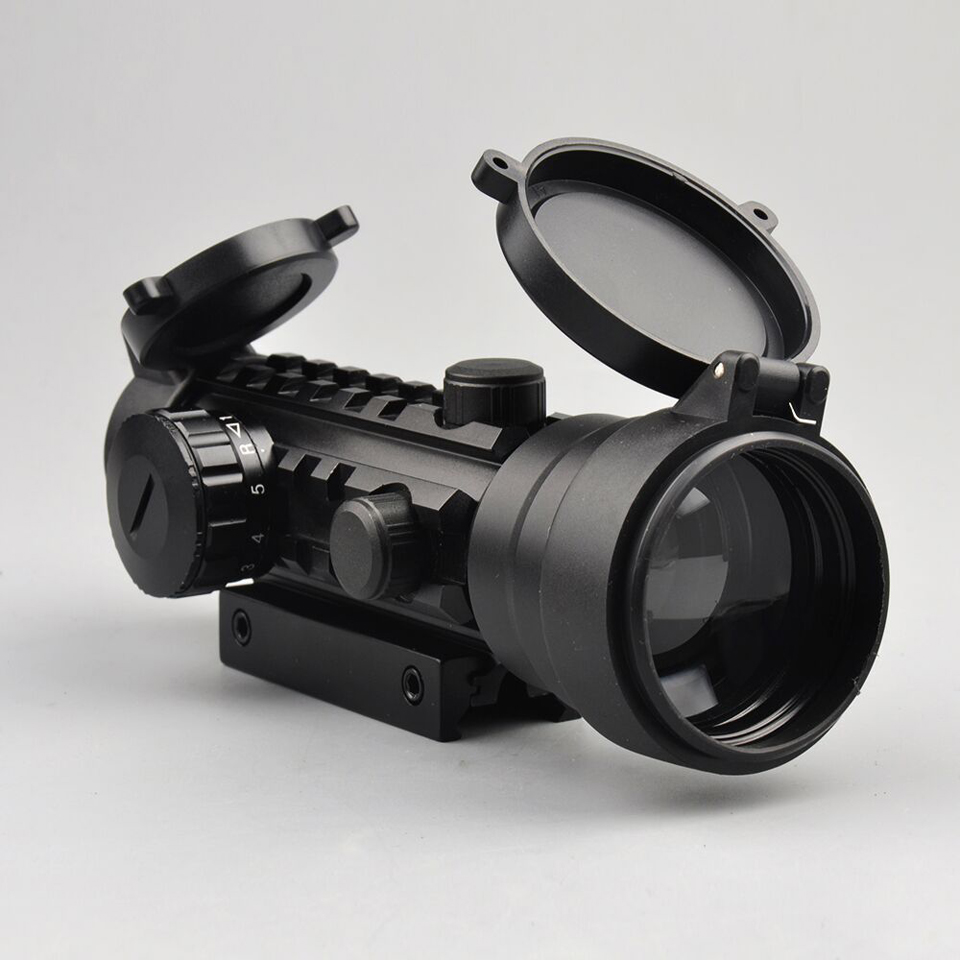 ФОТО 2x42 Red Green Dot Airsoft Rifle Scope Sight with 20 mm Tri Picatinny Rail for Hunting Riflescope K