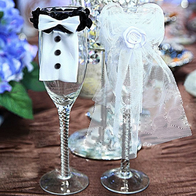 New Cup Cover 2 pcs Bride   groom tux Bridal Veil Wedding Toasting Wine  decoration New wedding cup cover 408483796450