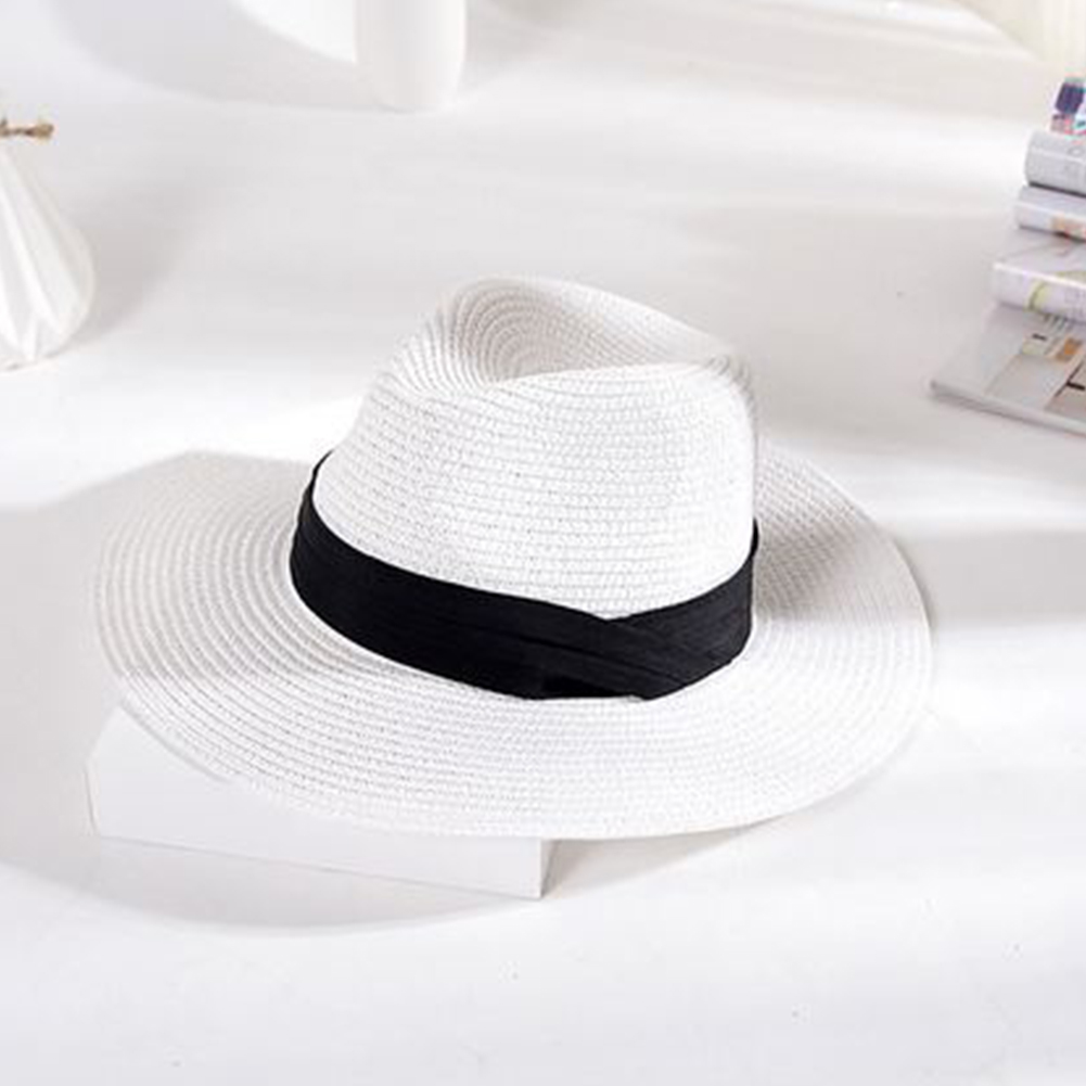 Fashion Men Women Ribbon Decor Summer Beach Topee Paper Straw Sun Cap Holiday Unisex Hat Sunshade Accessory