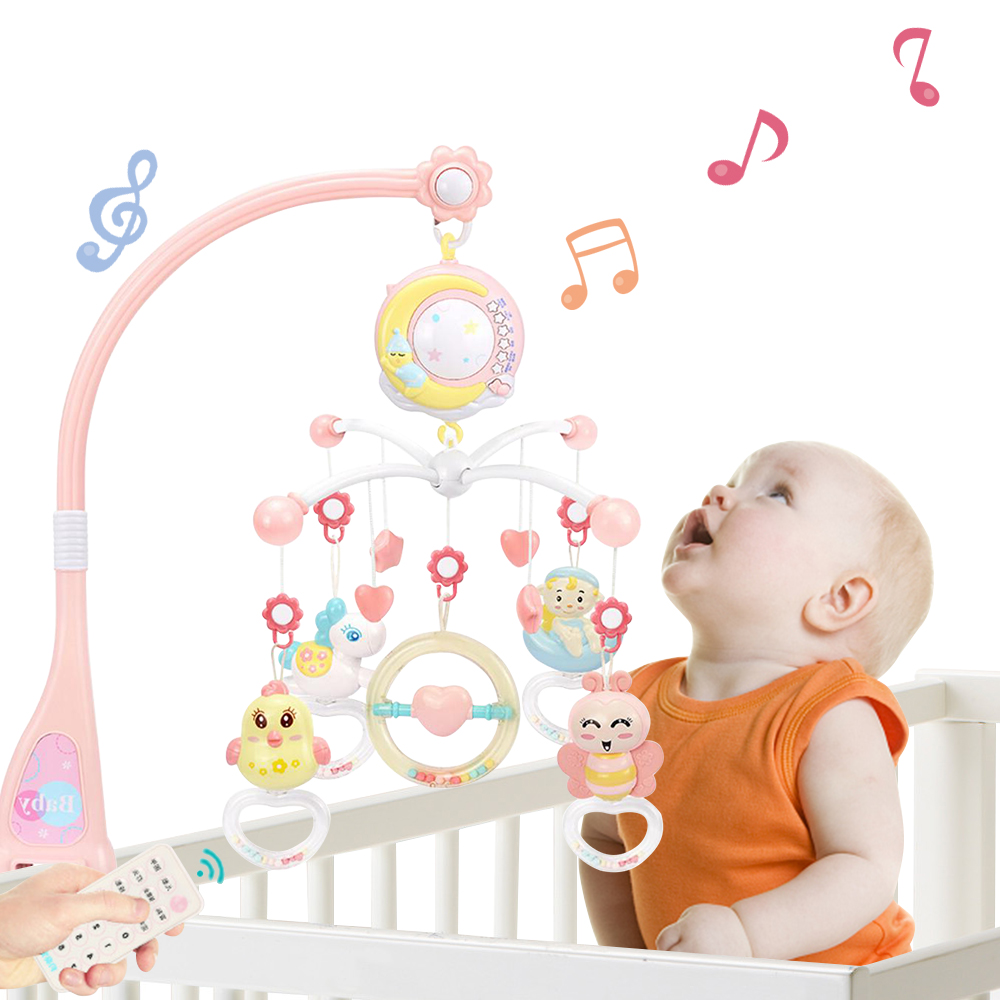 Baby Crib Toy 0-12 Months For Newborn Infant Mobile Musical Box Bed Bell With Animal Rattles Early Learning Kid Educational Toys