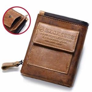 Image 2 - GZCZ Genuine Leather Men Wallet Fashion Coin Purse Card Holder Small Wallet Men Portomonee Male Clutch Zipper Clamp For Money