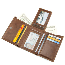 Men Real Leather RFID Blocking Wallet Travel ID Cover Credit Card R-8105C