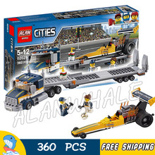 360pcs City Great Vehicles Dragster Transporter Racing Car 02025 Figure Building Blocks Assemble Toys Compatible With LegoING(China)