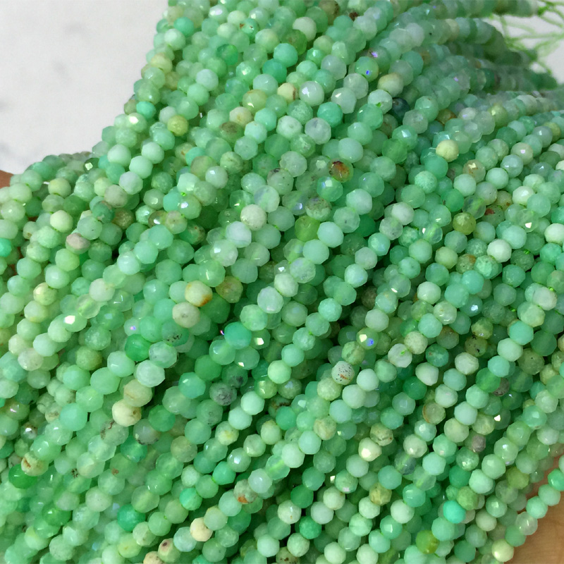 Natural Genuine Grass Green Chrysoprase Hand Cut Faceted Rondelle Loose Small Beads DIY Jewelry Necklaces or