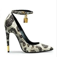 Gold Padlock High Heels Pumps Sexy Snake Skin Ankle Strappy Pumps Women Fashion Wedding Shoes Zapatos Mujer Nightclub Stilettos