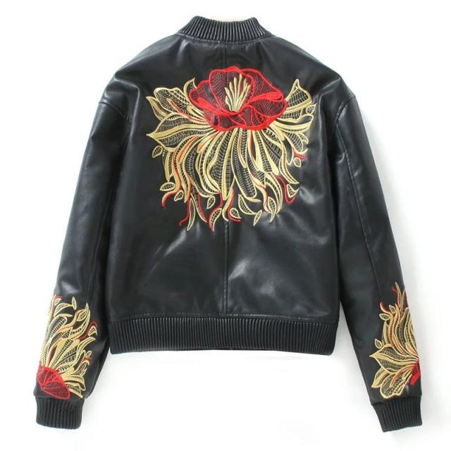 Fashion rock girls autumn embroidered flower faux leather