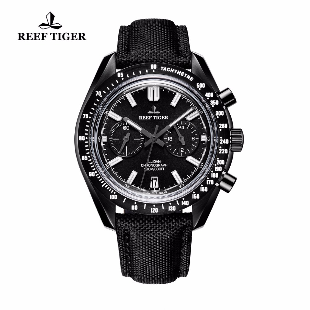 Reef Tiger/RT Chronograph Sport Watches for Men Black Steel Nylon Strap Watches with Date RGA3033 2x yongnuo yn600ex rt yn e3 rt master flash speedlite for canon rt radio trigger system st e3 rt 600ex rt 5d3 7d 6d 70d 60d 5d
