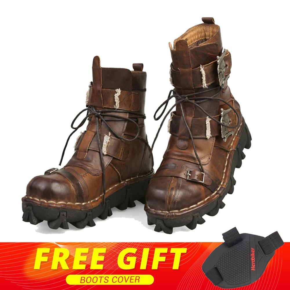 купить New Retro Cowhide Genuine Leather Motorcycle Boots Gothic Skull Punk Martin Boots Moto Steampunk Mid-calf Shoes Protective Gear онлайн