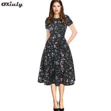 Oxiuly Black Patchwork Floral Dress Vintage Pocket Tunin Lady Skater Dress Party Cocktail Cotton Blend A-Line Summer Dress цена