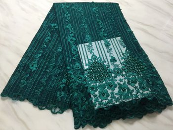 Lace Fabric Embroidered High Quality African Lace Fabric green 2019 Latest African French Lace Fabric For Party LMNF