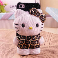 3D Bling Bling Crystal Pearl Black Leopard Hello Kitty Cabochon DIY Cell Phone Case For Iphone