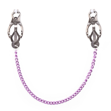 Women Purple Chain Couple Sex Nipple Clamps Couples Nipple Clamp Bdsm Fetish Pinzas Pezones Torture Breast Clip Bondage Toys bust adjustable stainless steel fetish wear breast clamp metal clip nipples clamps bdsm bondage sex toys products for adults