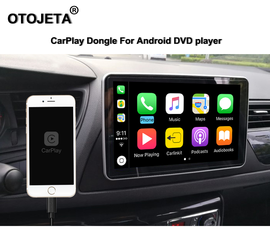 ELANMEY android lecteur multimédia accessoires carplay dongle USB plug and play mirror link connexion facile android fonction auto