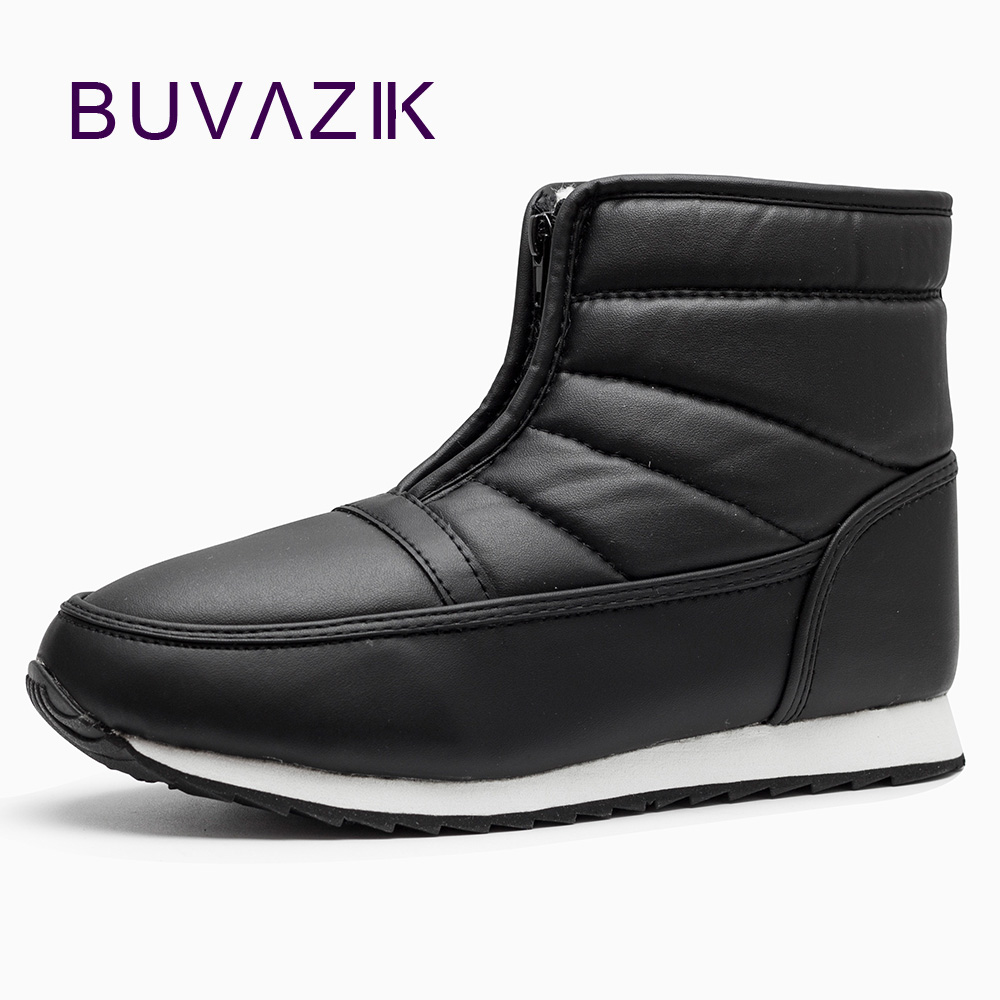 BUVAZIK Men Boots Winter With Fur Keep Warm Waterproof Winter Casual Shoes Big Size 46 Snow Boots Men Leather Winter Shoes Mens
